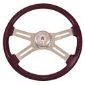 18 In Classic Purple Painted Steering Wheel - 4 Chrome Spokes