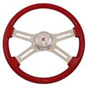 18 In Classic Red Painted Steering Wheel - 4 Chrome Spokes