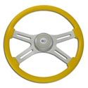 18 In Classic Yellow Painted Steering Wheel - 4 Chrome Spokes