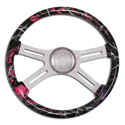 18 Inch Muddy Girl 4 Spoke Painted Wood Steering Wheel