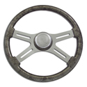 18 Inch Grey Snake Skin 4 Spoke Painted Wood Steering Wheel