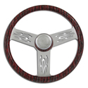 18 Inch Black and Silver Flame 4 Spoke Wood Steering Wheel
