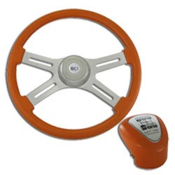18 Inch Chrome 4 Spoke Orange Steering Wheel & Shift Knob Kit