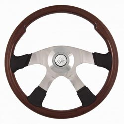 18 Inch Aluminum 4 Spoke Mahogany Steering Wheel With Halo Ring & Silver Victor Horn Button