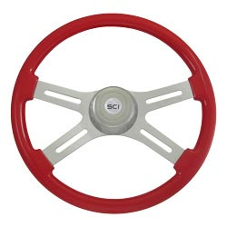 18 Inch Classic Viper Red Painted Wood Steering Wheel