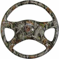 18 Inch 4 Spoke Next Vista Camo Printed Wood Steering Wheel With Chrome Horn Button