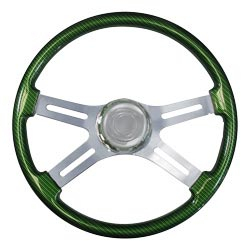 18 Inch 4 Spoke Synergy Green Printed Wood Steering Wheel With Matching Bezel & Chrome Horn Button