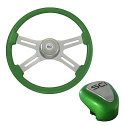 18 Inch Chrome 4 Spoke Green Steering Wheel & Shift Knob Kit