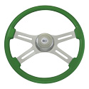 18 Inch Chrome 4 Spoke Classic Green Painted Wood Steering Wheel