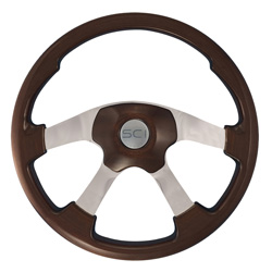 18 Inch Aluminum 4 Spoke Mahogany Wildwood Steering Wheel