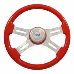 16 Inch Chrome 4 Spoke Viper Red Classic Steering Wheel With Matching Bezel