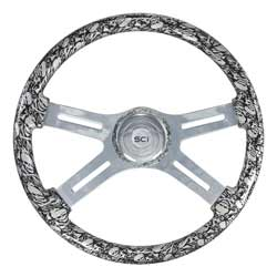 18 Inch Chrome 4 Spoke Silver Skull Printed Steering Wheel