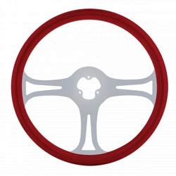 18 Inch Chrome 3 Spoke Blade Red Steering Wheel