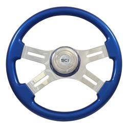 16 Inch 4 Chrome Spoke Blue Steering Wheel