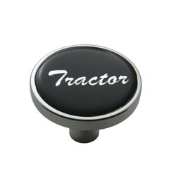 Chrome Air Valve Knob Pin Style with Glossy Black Tractor Sticker