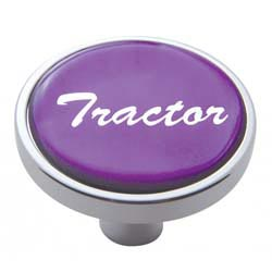 Chrome Air Valve Knob Pin Style with Glossy Purple Tractor Sticker