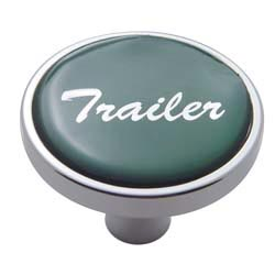 Chrome Air Valve Knob Pin Style with Glossy Green Trailer Sticker
