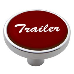 Chrome Air Valve Knob Pin Style with Glossy Red Trailer Sticker