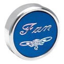 Chrome Fan Knob Screw Mount Blue