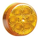 2 Inch Amber 6 Diode LED Round Clearance & Marker Light Amber Lens