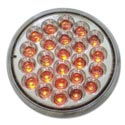 4 Inch Round LED Light Red/Clear Pearl Style