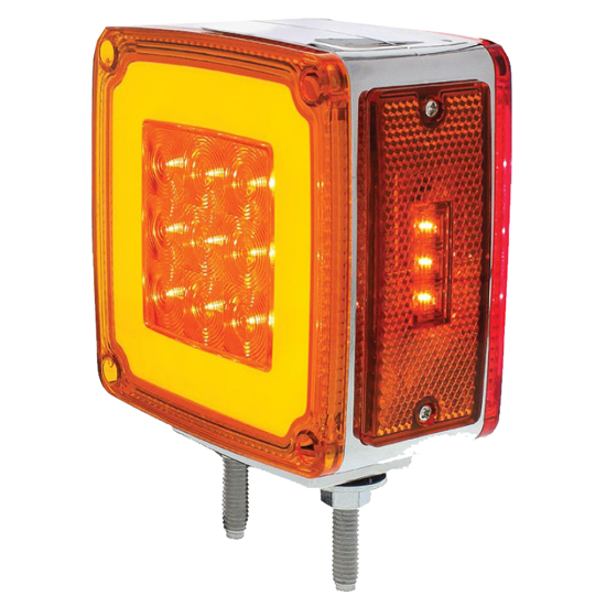 Led Lights For Semi Trucks >> Amber/Red Square LED Double Face Glo Turn Signal Light - 4 ...
