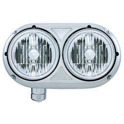 Stainless Steel Dual Round Headlight With Crystal Headlamps