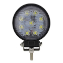 9 Diode Round LED Work Light w Clear Lens - Black Housing