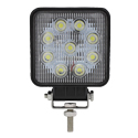 9 DIode Square LED Work Light w Clear Lens - Black Housing