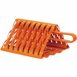 9 X 10 X 6 Inch Orange Powder-Coated Galvanized Carbon Steel Serrated Wheel Chock With Handle