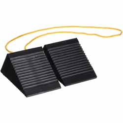 3 X 5 X 2.25 Inch Mini Rubber Wheel Chock Set With 3 Foot Rope