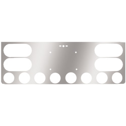 12 Inch Rear Center Light Panel With License Plate, 4 Oval & 8 - 2 Inch Light Holes