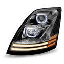 Halogen Projection Headlight With Chrome Housing Daytime Running LED Lights Fits Volvo VNL Gen II