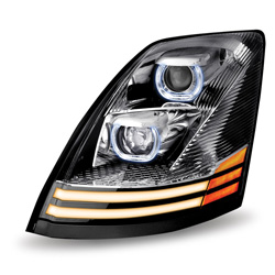 Chrome LED Projector Headlight Assembly Fits Volvo VNL -  Driver Side