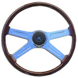20 Inch Chrome 4 Spoke Mahogany Steering Wheel Fits Peterbilt & Kenworth