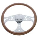 18 Inch Chrome 3 Spoke OG Lady Steering Wheel Fits Kenworth & Peterbilt