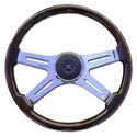 Chrome w/ Wood 4 Spoke Steering Wheel - 18in