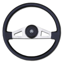 Brushed Nickel 2 Spoke Steering Wheel - 18in