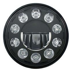 7 Inch Round 11 Diode Black Out Crystal High Power LED Headlight