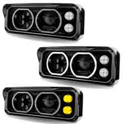 Dual Square LED Projection Headlight With Auxiliary Halo Rings & Amber LED Turn Signal Driver Side