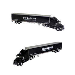 Die-Cast Volvo Model Truck with Bridgestone Firestone Trailer