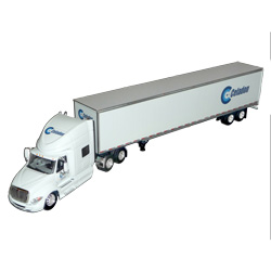Diecast White International Model Toy Truck With Dry Van