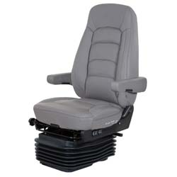 Bostrom Wide Ride II Low Base High Back Seat With Armrests - Gray Ultra-Leather