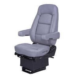 Bostrom Wide Ride Core Low Base High Back Seat With Armrests - Gray Ultra-Leather