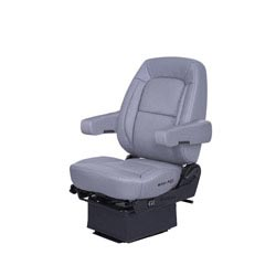 Bostrom Wide Ride Core Low Base Mid-Back Seat With Armrests - Gray Ultra-Leather