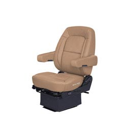 Bostrom Wide Ride Core Low Base Mid-Back Seat With Armrests - Tan Ultra-Leather