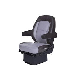 Bostrom Wide Ride Core Low Base Mid-Back Seat With Armrests - Black & Gray Ultra-Leather