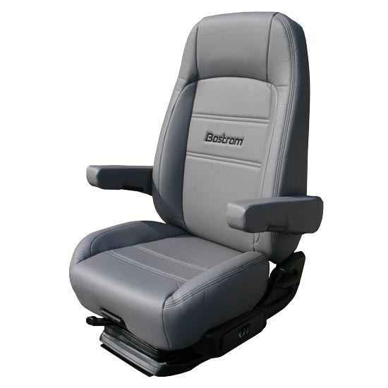 Bostrom Pro Ride Low Base High Back Seat With Armrests - Grey Ultra-Leather