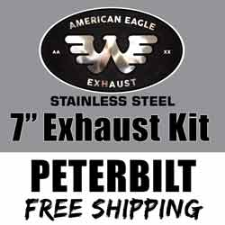 American Eagle Stainless 7 X 120 Inch Exhaust Kit With Long Drop Elbows Fits Peterbilt 378, 379 & 389 Gliders