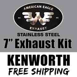 American Eagle 7 X 120 Inch Exhaust Kit With 90 Degree Elbows Fits Kenworth T600, T800 & W900 Non-Aerocab
